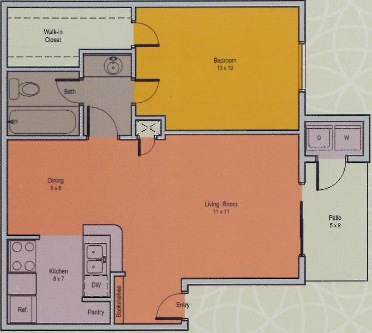 580 sq. ft. A floor plan