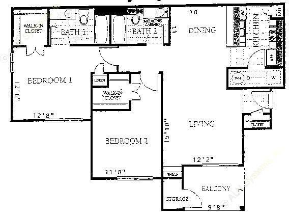 1,048 sq. ft. B2 floor plan