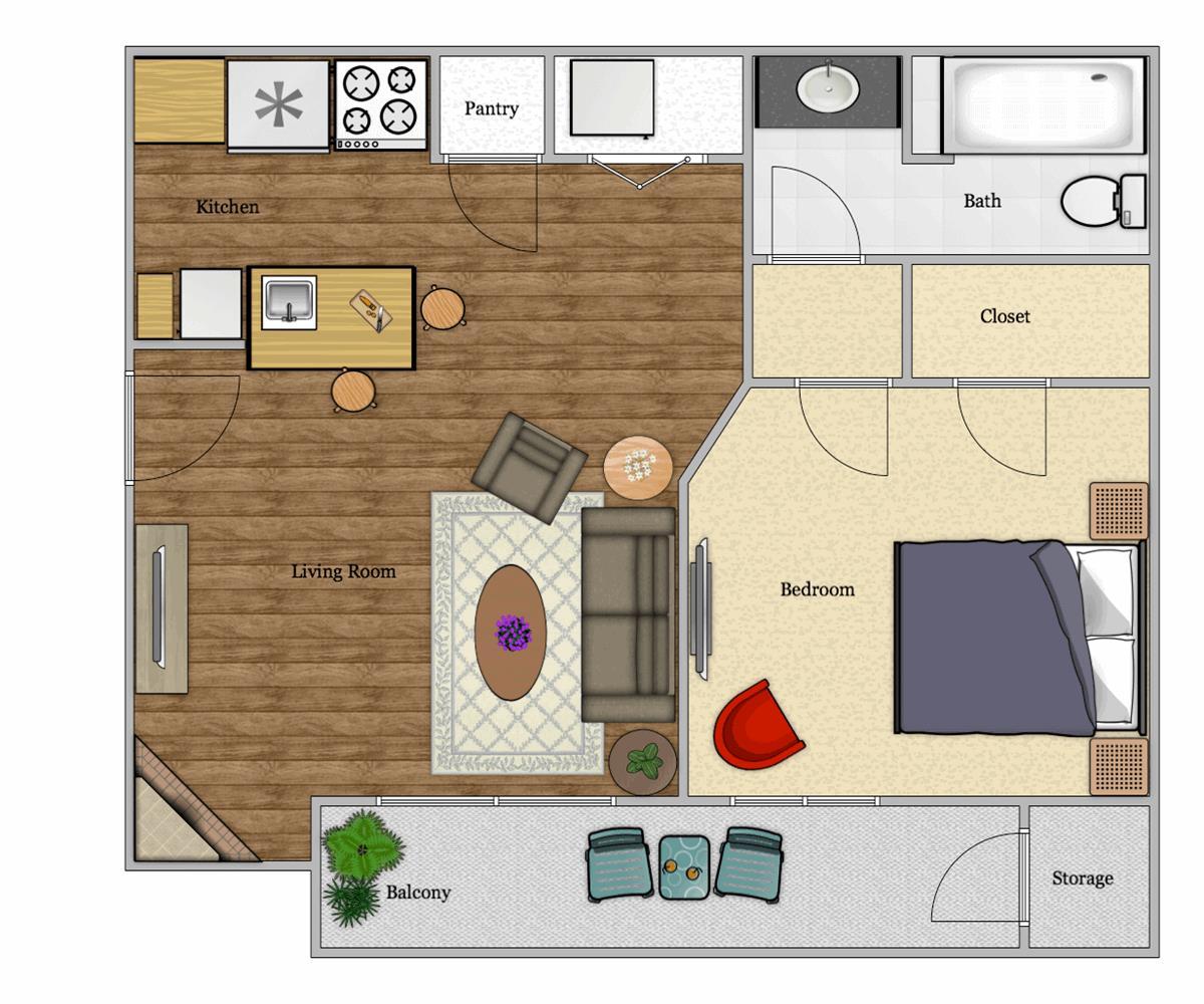 434 sq. ft. A2 floor plan