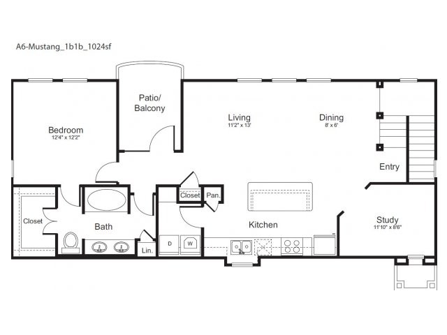 1,024 sq. ft. Mustang floor plan