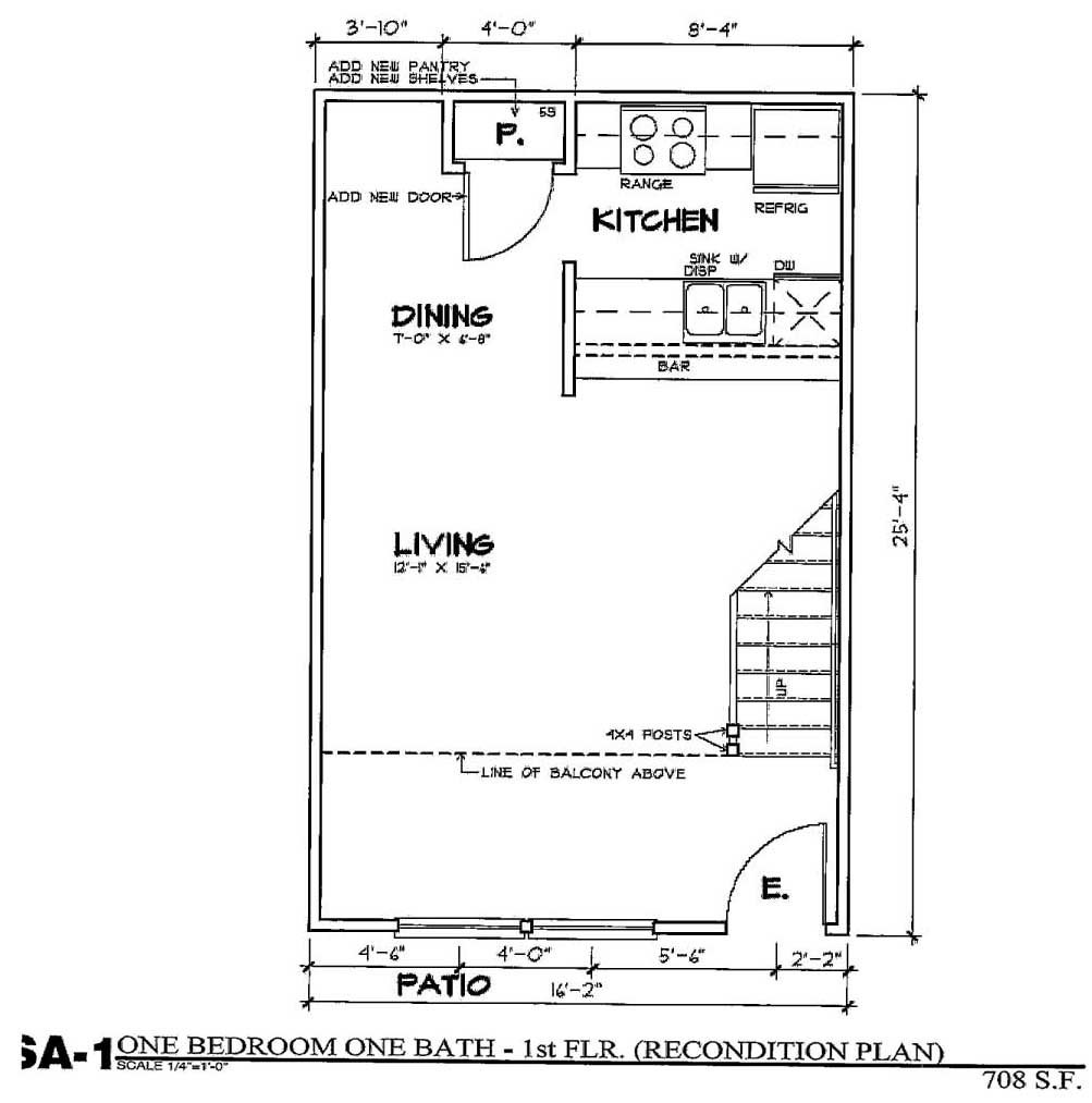 704 sq. ft. SA1/50% floor plan