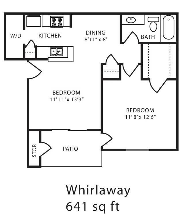 641 sq. ft. C floor plan