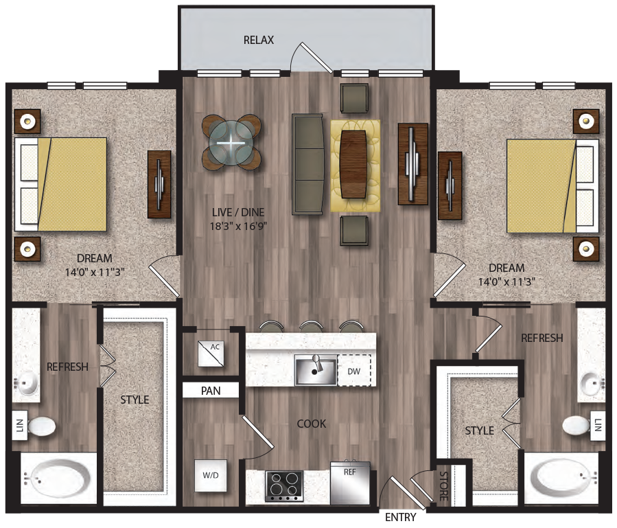 1,176 sq. ft. P-B7.1 floor plan