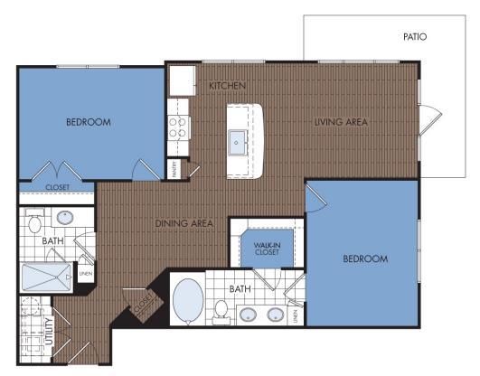 1,088 sq. ft. C4 floor plan