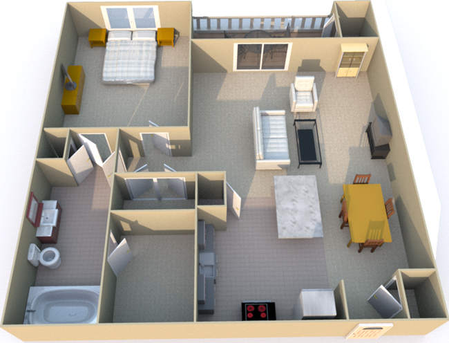 761 sq. ft. A3 floor plan