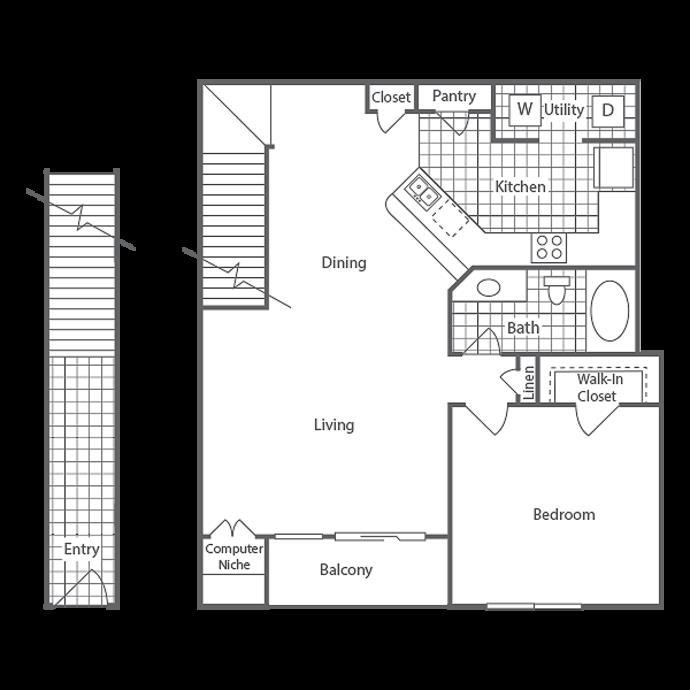952 sq. ft. Berkeley floor plan