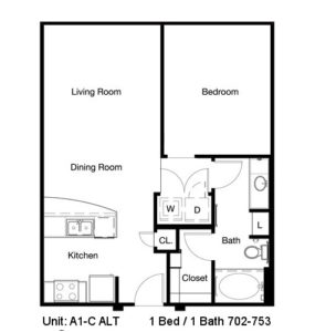 702 sq. ft. to 753 sq. ft. A1-C floor plan