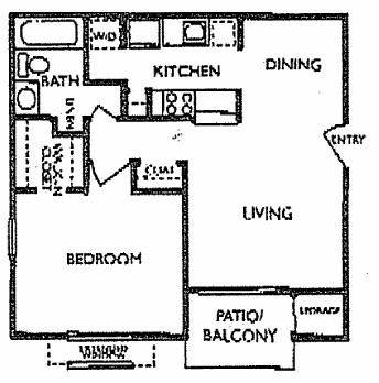 613 sq. ft. Tumbleweed floor plan
