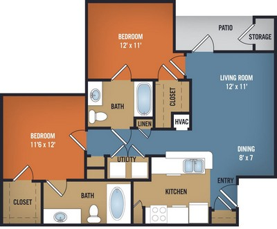 955 sq. ft. Magnolia floor plan