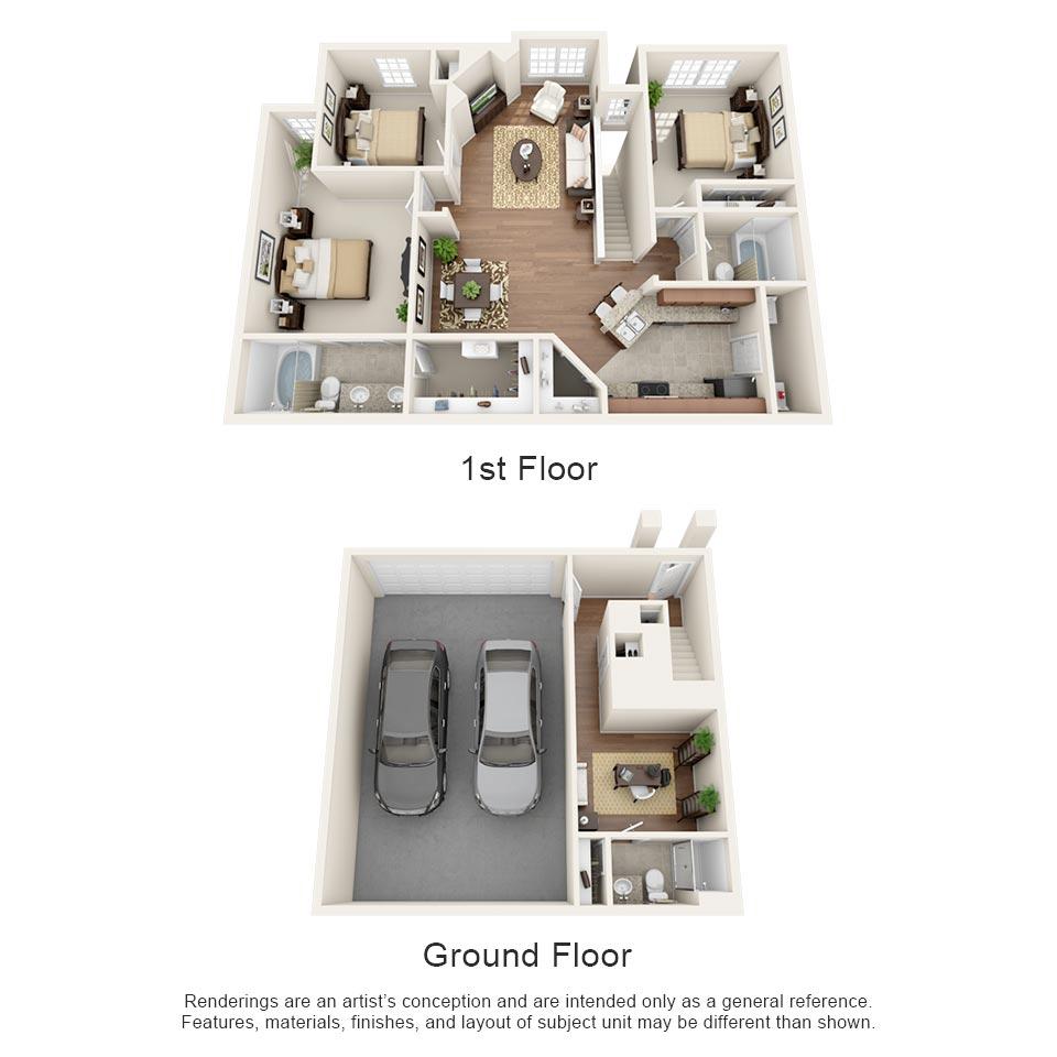 1,494 sq. ft. Bordeaux floor plan