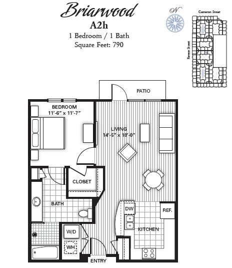 790 sq. ft. BRIARWOOD floor plan