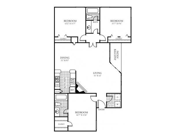 1,275 sq. ft. I floor plan