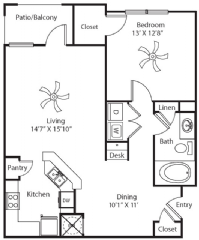 890 sq. ft. floor plan
