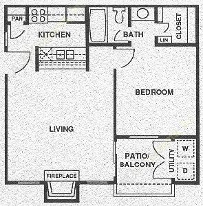560 sq. ft. A2 PH I floor plan