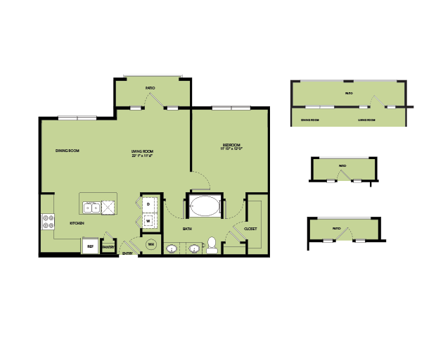 832 sq. ft. A5.2 floor plan