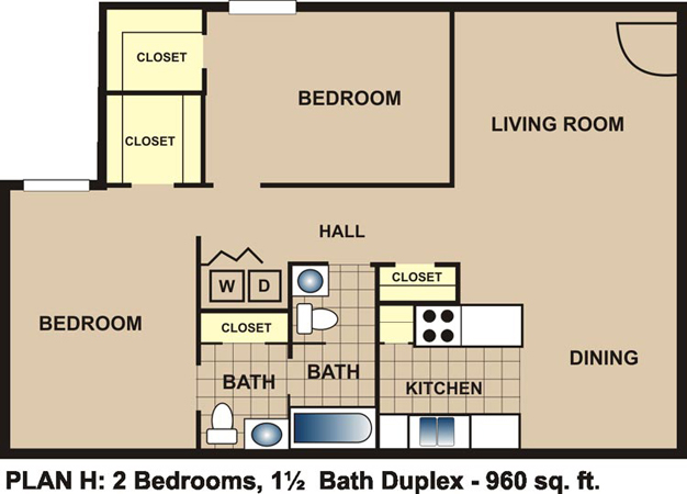 960 sq. ft. H floor plan