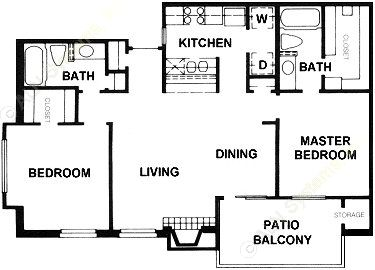 972 sq. ft. B7 floor plan