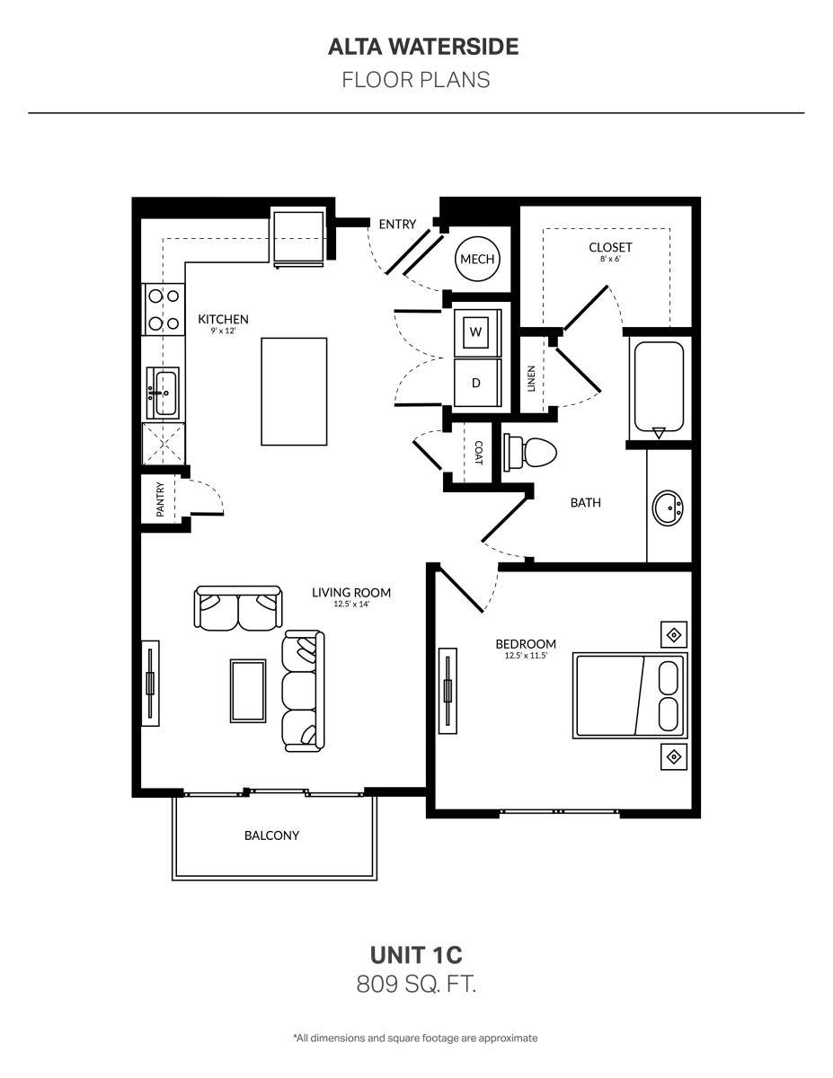 809 sq. ft. 1C floor plan