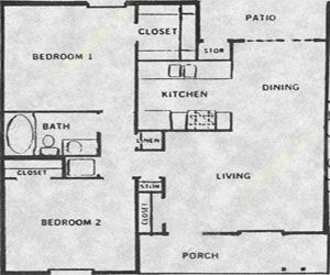 767 sq. ft. 50% floor plan
