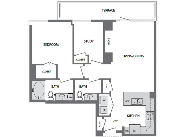 1,054 sq. ft. J floor plan