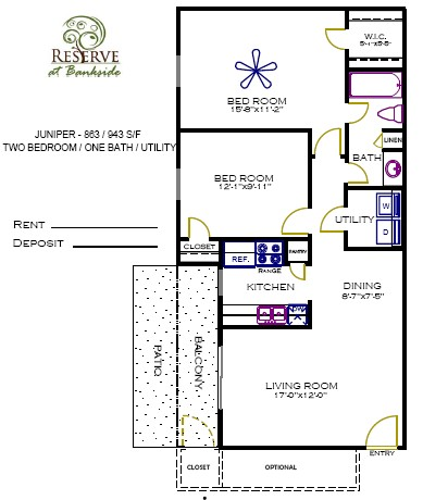 863 sq. ft. to 943 sq. ft. Juniper floor plan