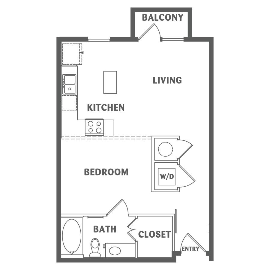 630 sq. ft. A1 floor plan