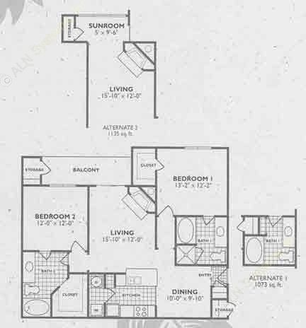 1,073 sq. ft. B4/B4A floor plan