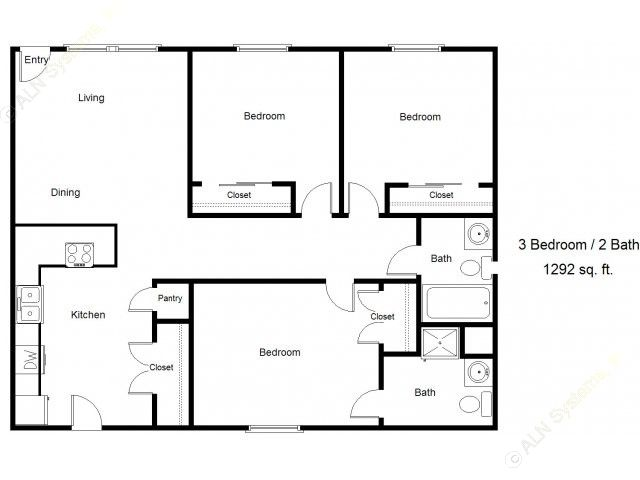 1,292 sq. ft. 60% floor plan