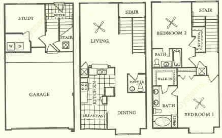 1,633 sq. ft. T2 floor plan