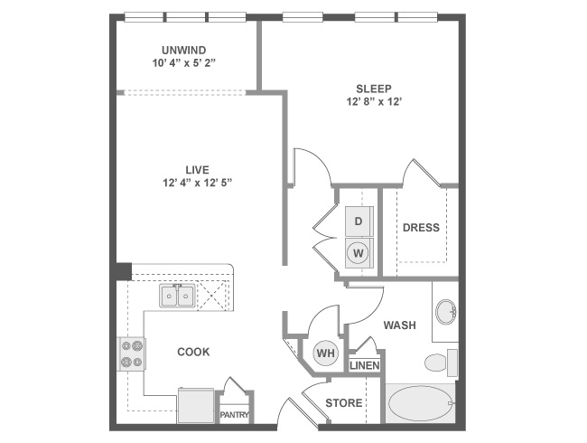 789 sq. ft. A3AZ floor plan