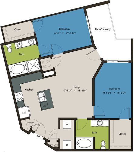 1,139 sq. ft. B4 floor plan
