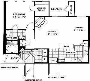 783 sq. ft. Tilden floor plan