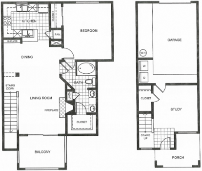1,030 sq. ft. D2 floor plan
