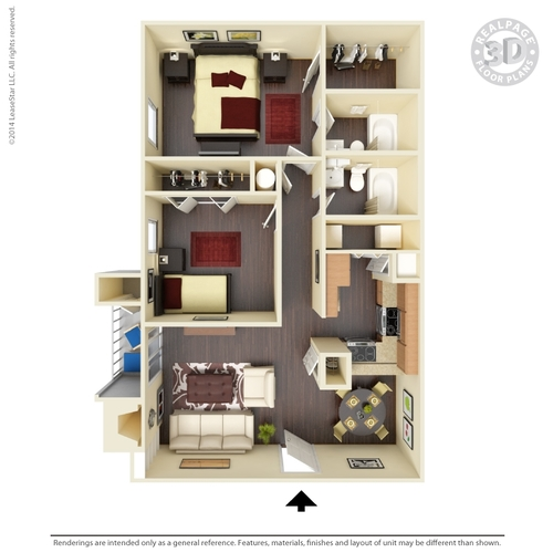 952 sq. ft. B5 floor plan