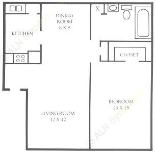 680 sq. ft. floor plan