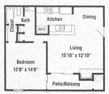 650 sq. ft. A3 floor plan