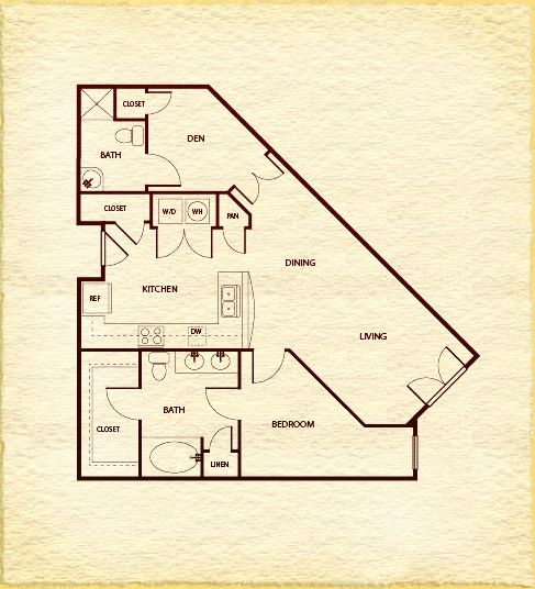 890 sq. ft. A4C floor plan