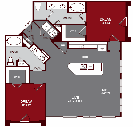 1,248 sq. ft. B3-C ALT B floor plan