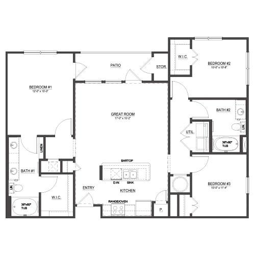1,286 sq. ft. C1 floor plan