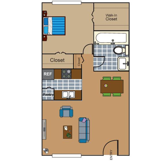 757 sq. ft. AB3 floor plan