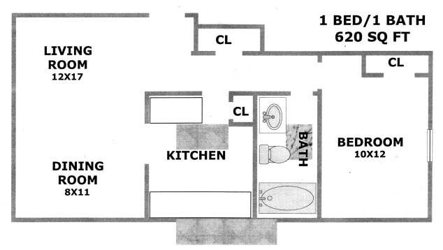 620 sq. ft. Birch floor plan