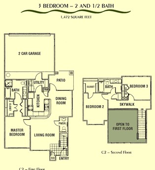 1,472 sq. ft. C2 floor plan