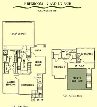 1,472 sq. ft. C2 floor plan