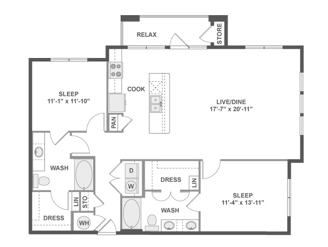 1,257 sq. ft. C6 floor plan