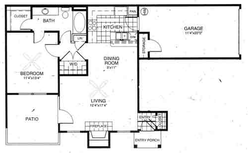 778 sq. ft. Windham floor plan