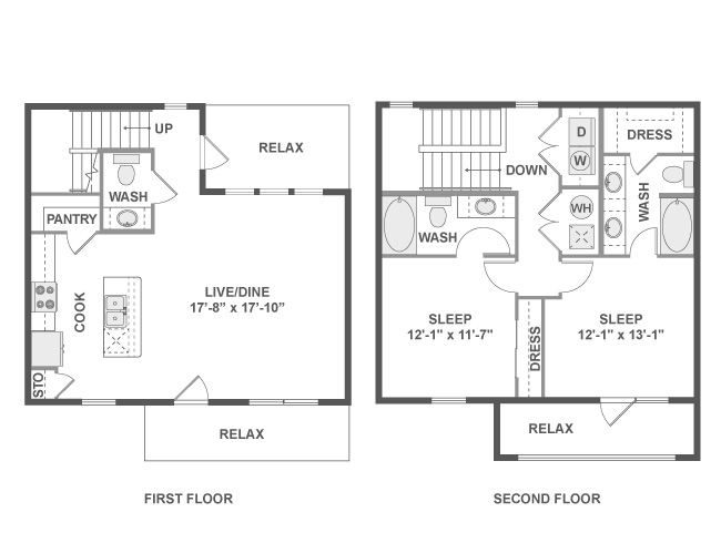 1,370 sq. ft. C7T floor plan