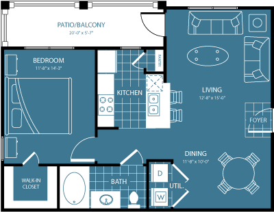 608 sq. ft. 1st/4th Flr floor plan