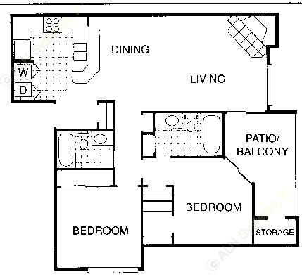 1,003 sq. ft. FL floor plan