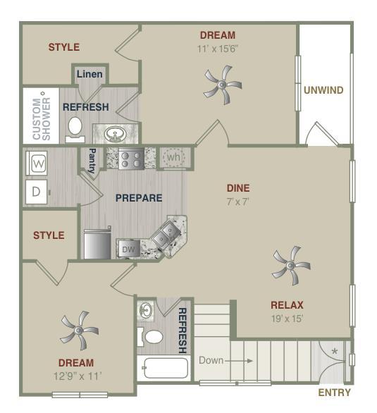 1,150 sq. ft. B1UG floor plan