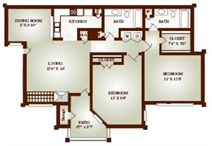 935 sq. ft. 22A floor plan